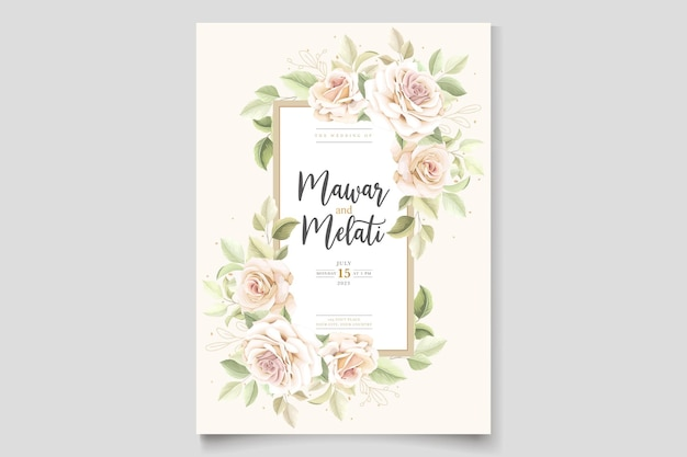 Elegante tarjeta de invitación de rosas dibujadas a mano