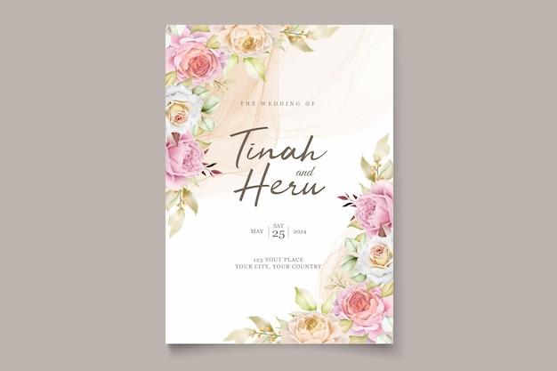 Elegante tarjeta de invitación de verano floral acuarela dibujada a mano