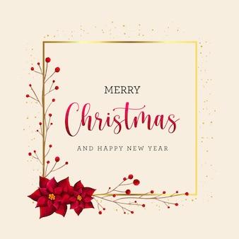 Elegante tarjeta navideña con marco dorado brillante y flores de acuarela