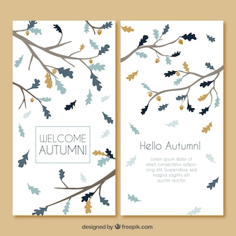 Elegante tarjeta de otoño con ramas dibujadas a mano