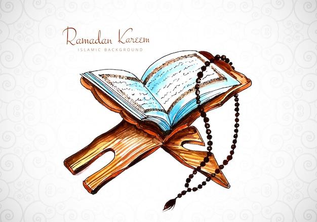Elegante tarjeta de ramadán kareem con fondo de corán