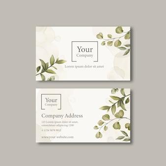 Elegante tarjeta de visita con adorno de hojas