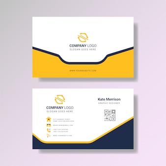 Elegante tarjeta de visita amarilla moderna
