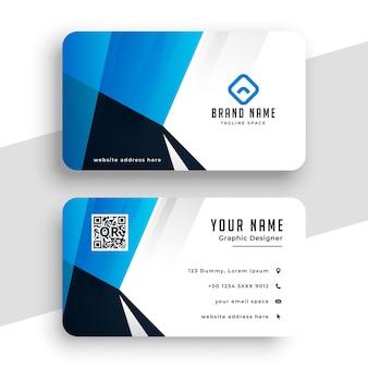 Elegante tarjeta de visita azul para contacto.