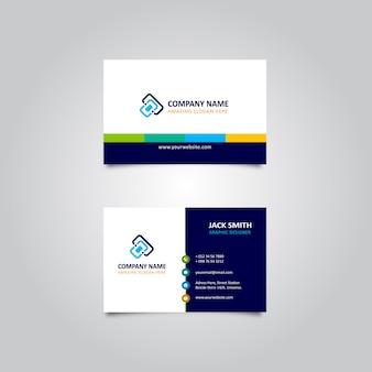 Elegante tarjeta de visita azul marino con colores frescos