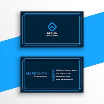 Elegante tarjeta de visita azul en plantilla de estilo de línea