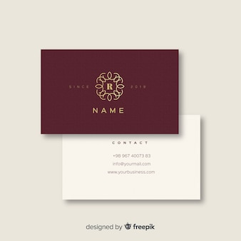 Elegante tarjeta de visita blanca y borgoña