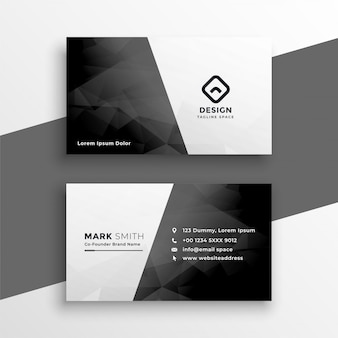 Elegante tarjeta de visita en blanco y negro