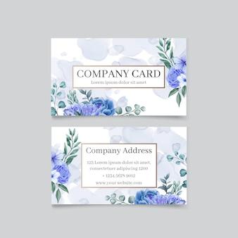 Elegante tarjeta de visita con fondo floral