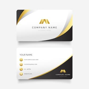 Elegante tarjeta de visita con formas doradas