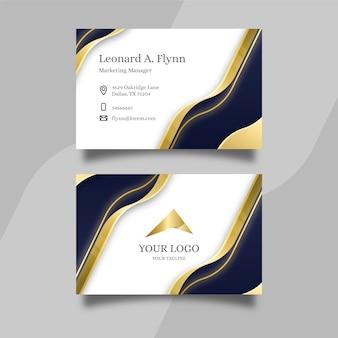 Elegante tarjeta de visita con líneas doradas onduladas