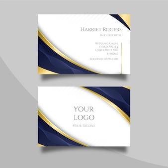 Elegante tarjeta de visita con líneas doradas