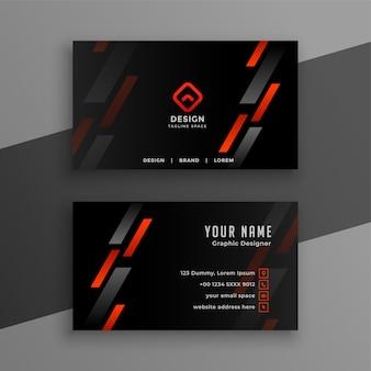 Elegante tarjeta de visita negra con diseño de líneas geométricas rojas