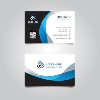 Elegante tarjeta de visita ondulada en negro y azul