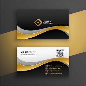 Elegante tarjeta de visita premium dorada ondulada