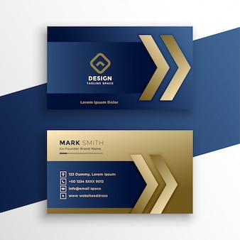 Elegante tarjeta de visita premium de oro.