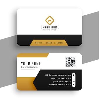 Elegante tarjeta de visita temática dorada con formas geométricas.