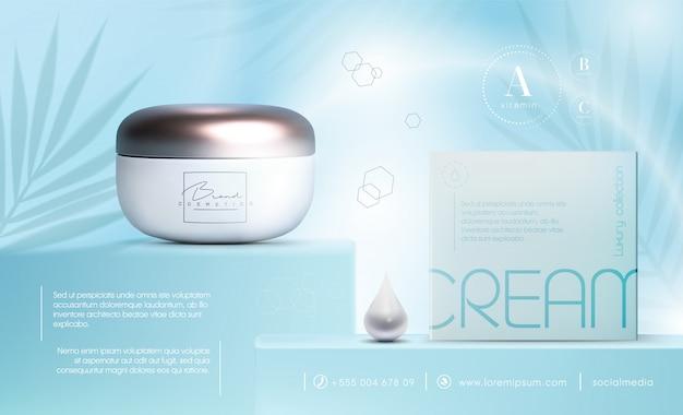 Elegante tarro de crema de productos cosméticos en 3d para productos para el cuidado de la piel. crema facial de lujo. folleto de anuncios cosméticos o diseño de banner. plantilla de crema cosmética azul. marca de productos de maquillaje.