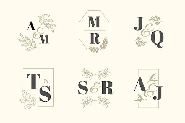Elegante tema de la colección de monogramas de boda