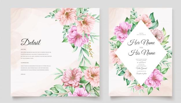 Elegante tema de invitación de boda de flor de cerezo
