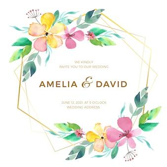 Elegante tema de marco de boda floral