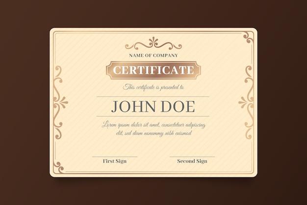 Elegante tema de plantilla de logro de certificado