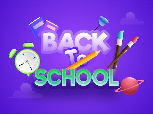 Elegante texto colorido del diseño de encabezado o banner de regreso a la escuela