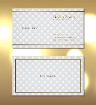 Elegante textura tapicería blanca tarjeta de visita