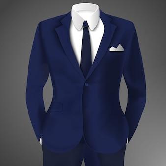 Elegante traje azul de negocios con corbata y camisa blanca.