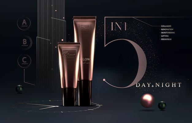 Elegante tubo de crema de productos cosméticos de lujo dorado para productos de cuidado de la piel plantilla de cimientos. crema facial de lujo. folleto de anuncios cosméticos o diseño de banner. marca de productos de maquillaje.