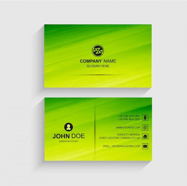 Elegante vector de plantilla de tarjeta de visita verde
