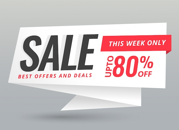 Elegante venta y ofertas de origami chat bubble banner