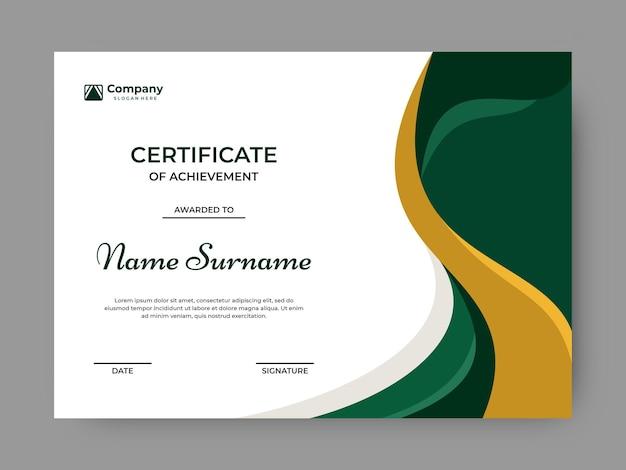 Elegante verde con plantilla de diseño de vector de certificado de color dorado
