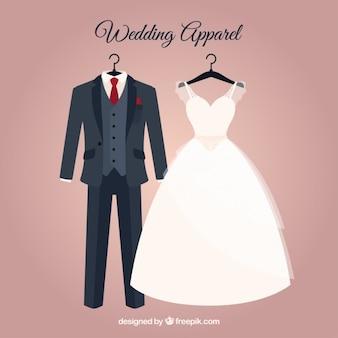 Elegante vestido de novia y traje de novio