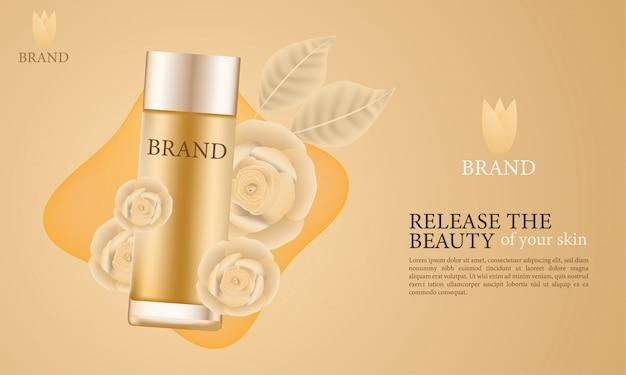 Elegantes anuncios cosméticos para el cuidado de la piel.
