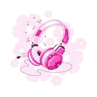 Elegantes auriculares estéreo con un diseño floral rosa.