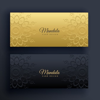 Elegantes carteles de mandala de oro y negro