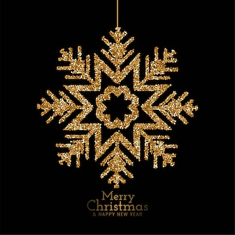 Elegantes copos de nieve con brillo de feliz navidad