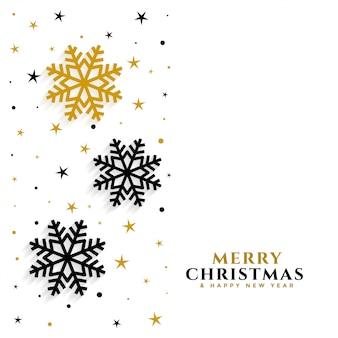Elegantes copos de nieve dorados y negros blancos