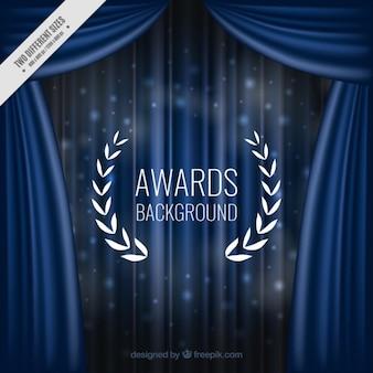 Elegantes cortinas de fondo azul