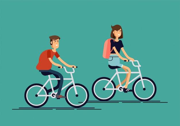Elegantes hipsters masculinos y femeninos en bicycl
