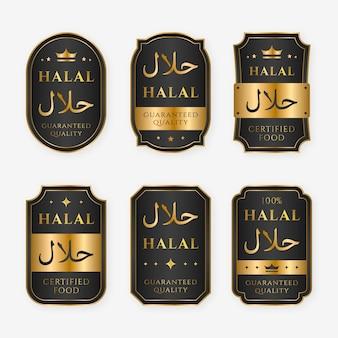 Elegantes insignias halal con detalles dorados.