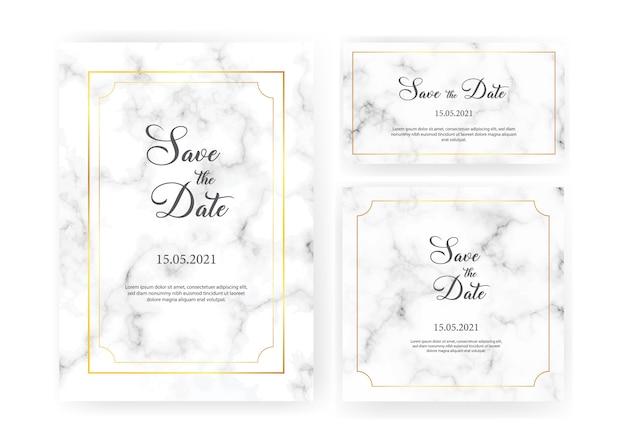 Elegantes invitaciones de boda con marcos geométricos dorados y textura de mármol gris. colección de invitación de lujo con guardar la fecha, rsvp, menú, número de tabla y tarjeta de presentación