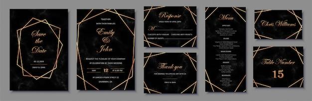 Elegantes invitaciones de boda con marcos geométricos dorados y textura de mármol negro.