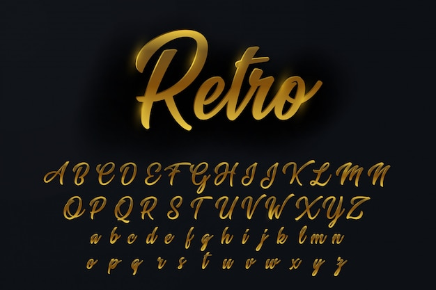 Elegantes letras, números y símbolos del alfabeto rotados de oro
