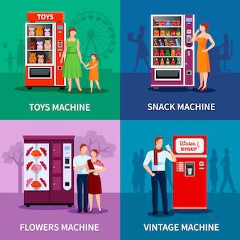 Elegantes máquinas expendedoras de colores con juguetes, flores, bocadillos, agua y jarabe, aislados ilustración vectorial