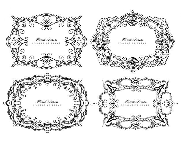 Elegantes marcos decorativos en blanco y negro.