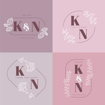 Elegantes monogramas de boda en colores pastel.
