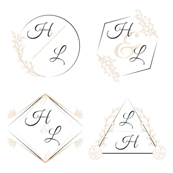 Elegantes monogramas florales para bodas