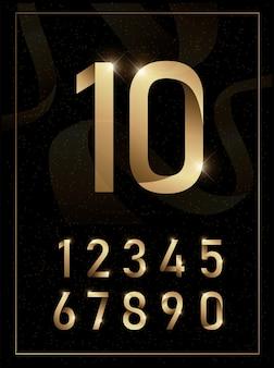 Elegantes números metálicos dorados.